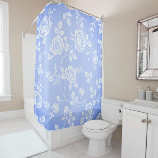Retro_Floral_Faded-Blue (c) Unisex Shower Curtain