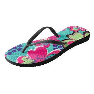 retro floral flip flops
