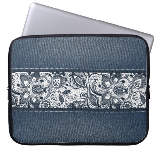 Retro Floral Flower Denim Texture Laptop Sleeve