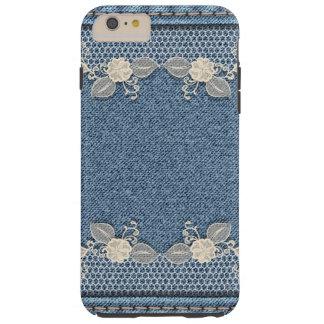 Retro Floral Flower Denim Texture Tough iPhone 6 Plus Case