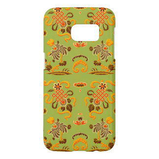 Retro Floral in Green, Orange, and Brown