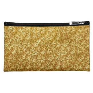 Retro Floral Lace Leaf Mustard Yellow Bagettes Makeup Bag