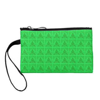Retro Floral Leaf Neon Green Bagettes Bag Coin Wallets
