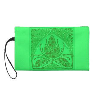 Retro Floral Leaf Neon Green Bagettes Bag Wristlet Purses
