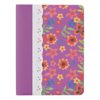 Retro Floral Magenta, Faux Lace Moleskine Notebook