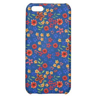 Retro Floral Miniprint on Blue iPhone 5c Case