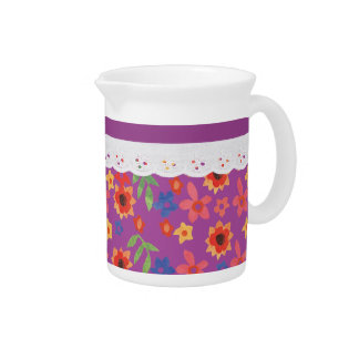 Retro Floral on Magenta, Faux Lace Pitcher or Jug