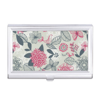 Retro Floral Pattern 2 2 Business Card Holder