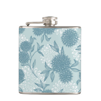 Retro Floral Pattern 2 3 Hip Flask