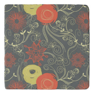 Retro floral pattern 3 trivet