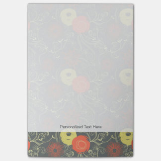 Retro floral pattern 6 post-it notes