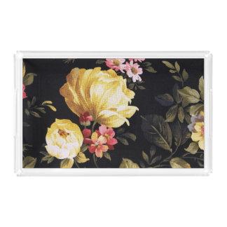 retro floral pattern acrylic tray