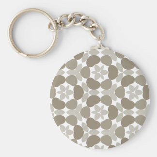 retro floral pattern basic round button key ring