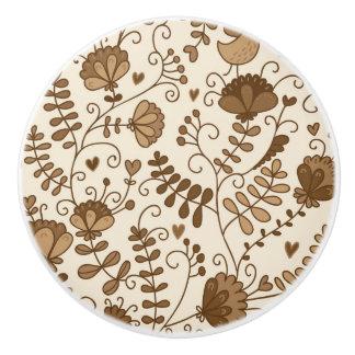 Retro floral pattern ceramic knob
