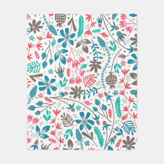 Retro Floral Pattern Fleece Blanket