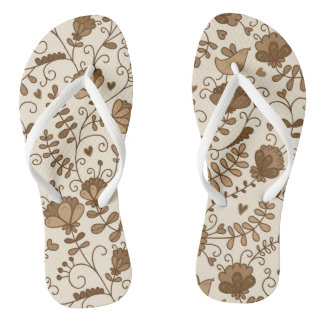 Retro floral pattern flip flops