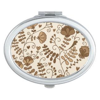 Retro floral pattern makeup mirrors