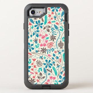 Retro Floral Pattern OtterBox Defender iPhone Case