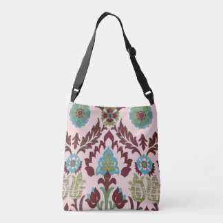 Retro Floral Pattern - Pink, Turquoise Brown Crossbody Bag