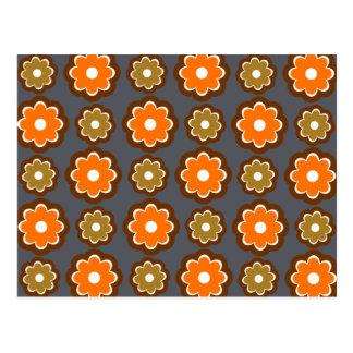 Retro floral pattern postcard