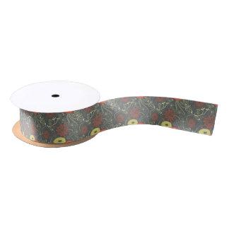 Retro floral pattern satin ribbon