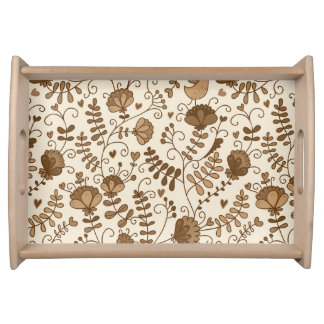 Retro floral pattern serving tray