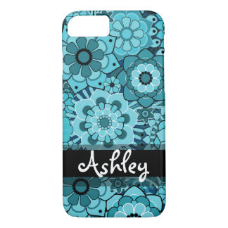 Retro Floral Pattern with Name iPhone 7 Case