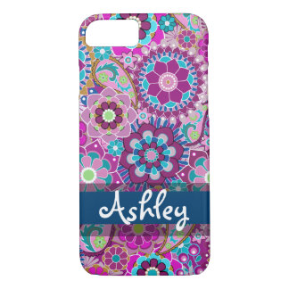 Retro Floral Pattern with Name iPhone 8/7 Case
