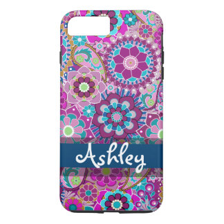 Retro Floral Pattern with Name iPhone 8 Plus/7 Plus Case
