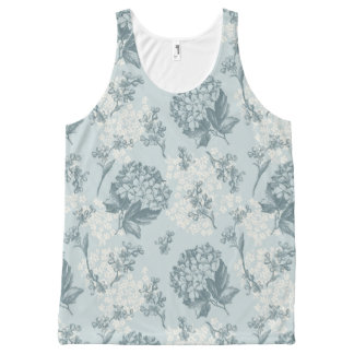 Retro floral pattern with viburnum flowers All-Over print tank top