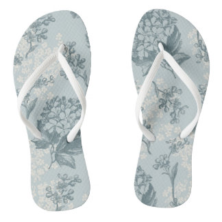 Retro floral pattern with viburnum flowers flip flops