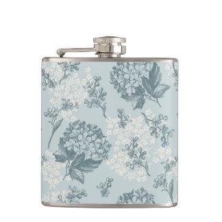 Retro floral pattern with viburnum flowers hip flask