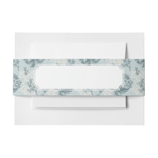 Retro floral pattern with viburnum flowers invitation belly band
