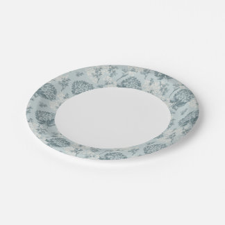 Retro floral pattern with viburnum flowers paper plate