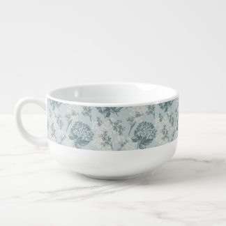 Retro floral pattern with viburnum flowers soup mug