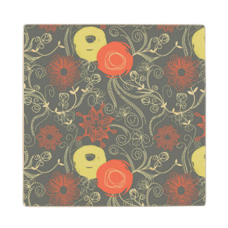 Retro floral pattern wood coaster