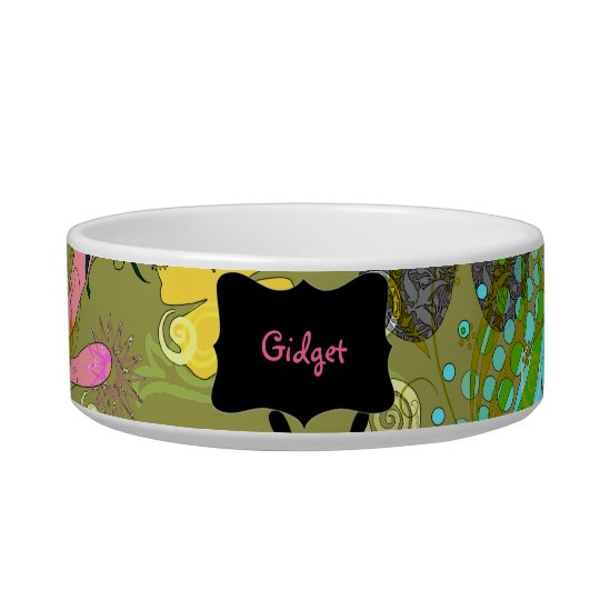Retro Floral Personalised Pet Bowls