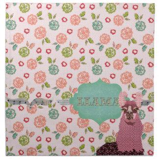 Retro Floral Pink Llama American MoJo Napkin