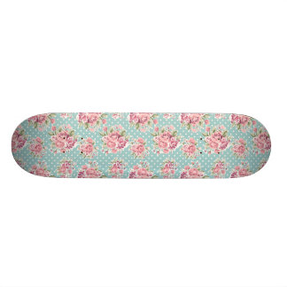 retro floral poke dots vintage blue skateboard