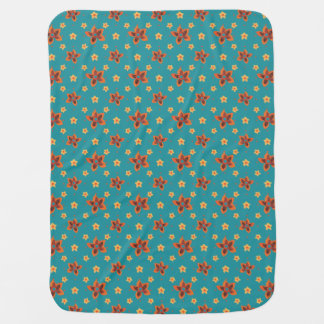Retro Floral, Polka Dots on Teal Baby Blanket