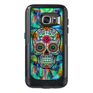 Retro Floral Sugar Skull Geometric Background OtterBox Samsung Galaxy S7 Case