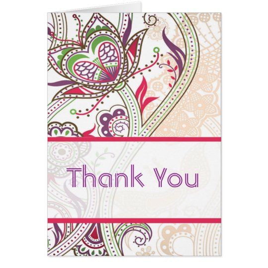 Retro Floral Wedding Thank You Cards