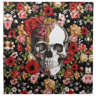 Retro florals with skull pattern napkin