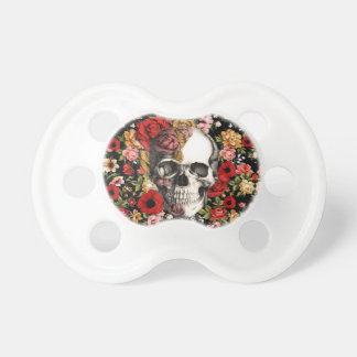 Retro florals with skull pattern pacifiers
