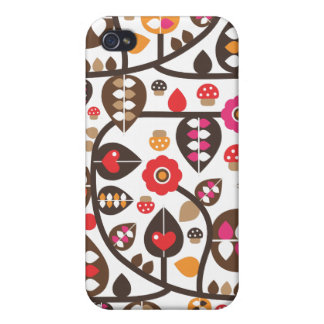 Retro flower and mushroom pattern iphone case iPhone 4/4S covers