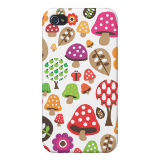 Retro flower and mushroom pattern iphone case iPhone 4/4S case