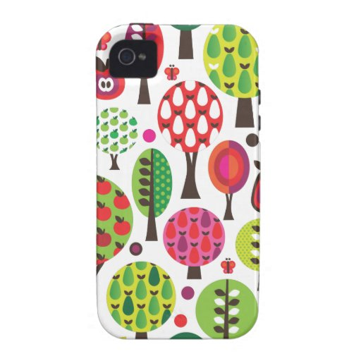 Retro flower apple butterfly pattern iphone case Case-Mate iPhone 4 cover