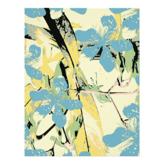 retro flower blue and yellow 21.5 cm x 28 cm flyer