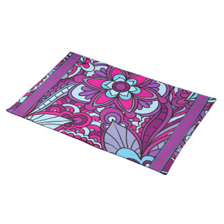 Retro Flower, Bright Colored Place Mats