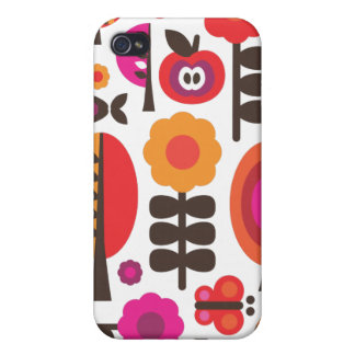 Retro flower butterfly pern i iPhone 4 covers